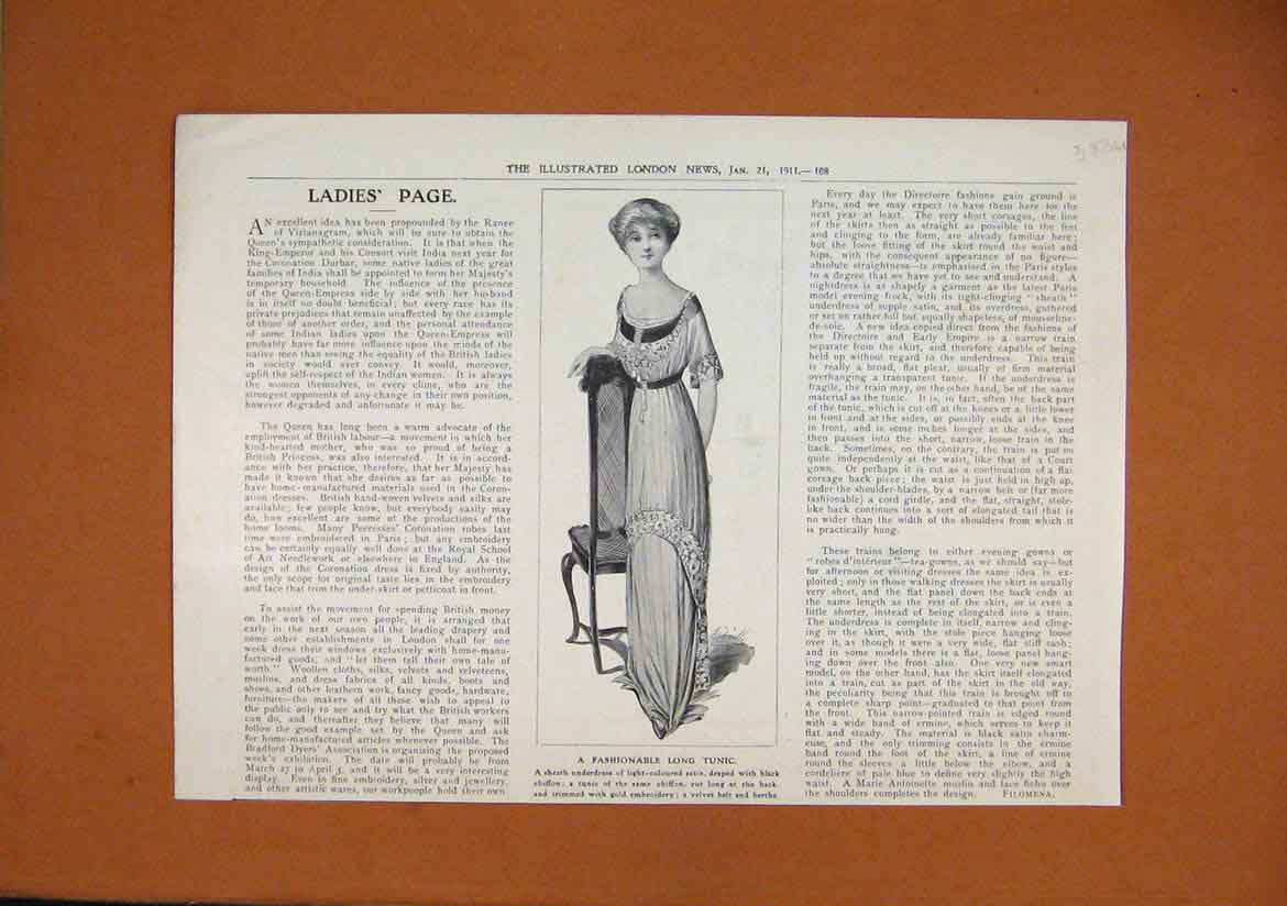 Print Woman Fashionable Long Tunic 1911 Satin Dress 83Umar1 Old Original