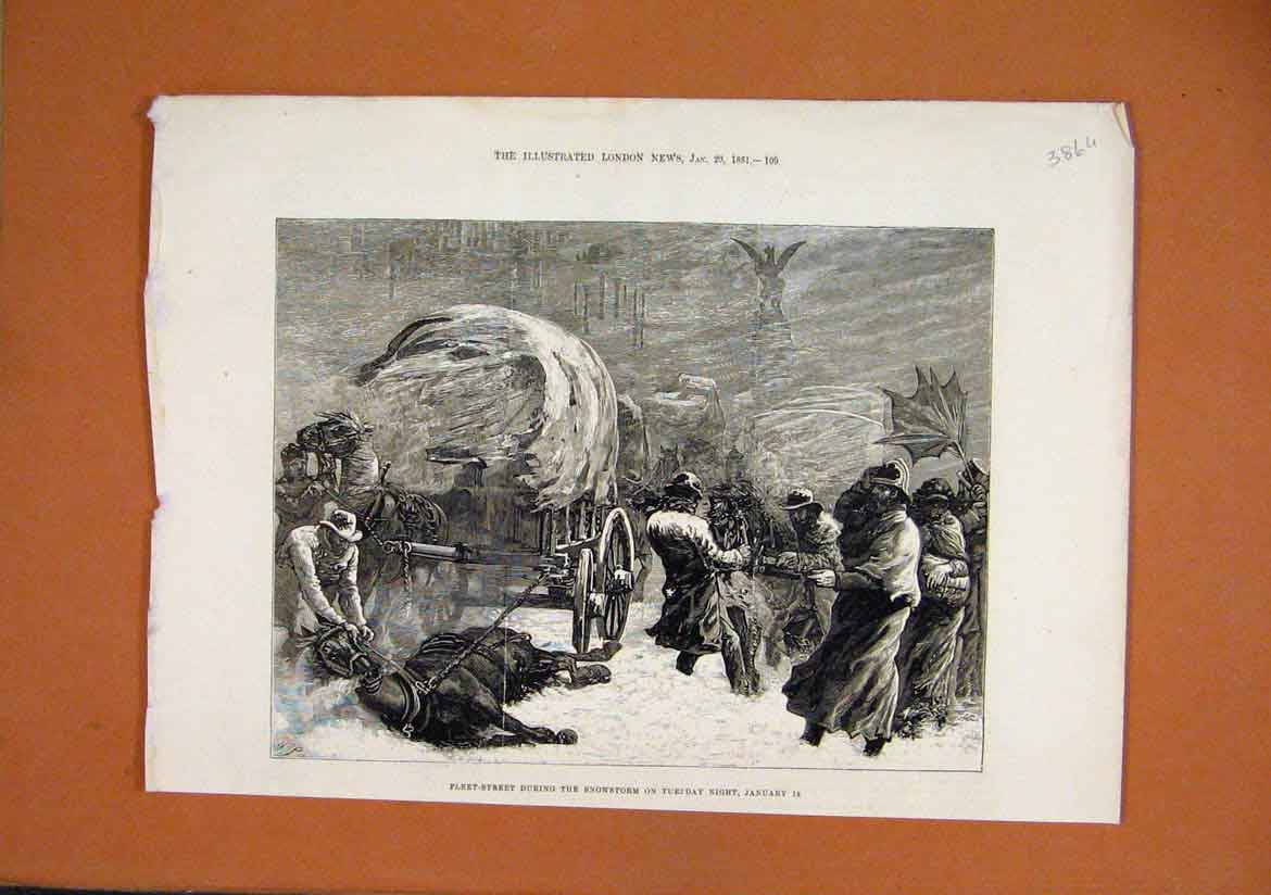 Print Fleet-Street Snowstorm 1881 Horse Carriage Men Wind 86Umar1 Old Original