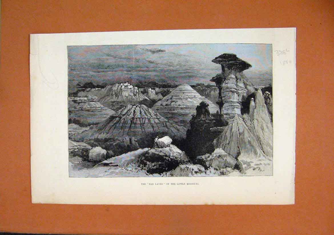 Print 1884 Bad Lands Little Missouri Mountain Scene Country 88Lmar1 Old Original