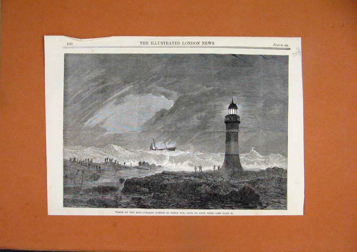 Print 1865 Wreck Mail-Steamer Athens Table Bay Cape Good Hope 89Umar1 Old Original