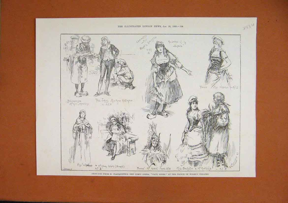 Print 1889 Sketches Planquette Comic Opera Paul Jones Theatre 93Umar1 Old Original