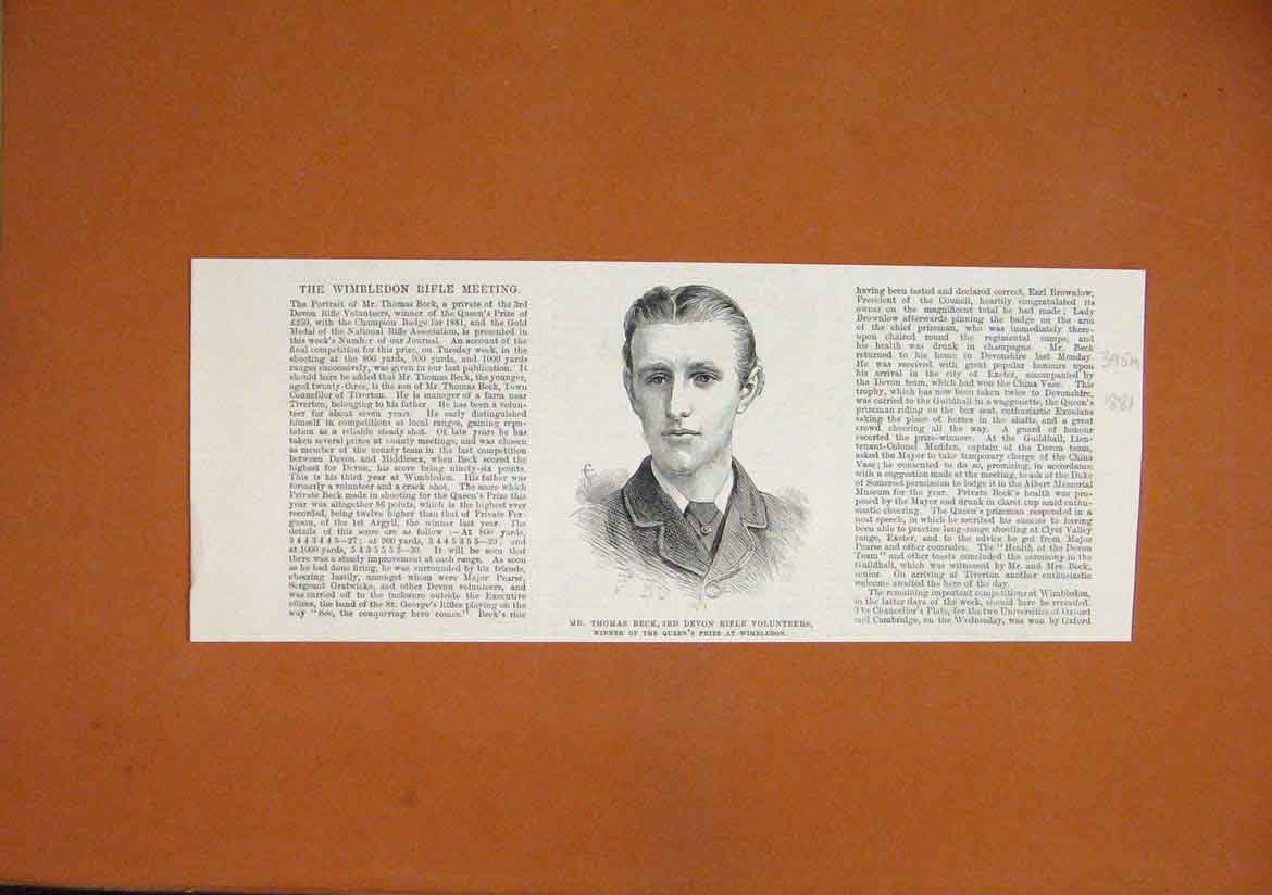 Print 1881 Portrait Thomas Beck Devon Rifle Volunteers 95Mmar1 Old Original