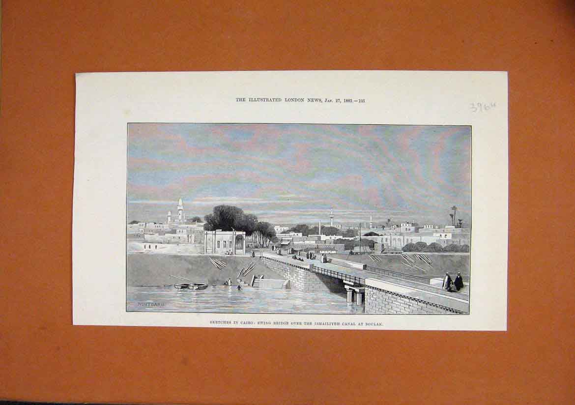 Print 1883 Sketch Cairo Swing Bridge Ismailiyeh Canal Boulak 96Umar1 Old Original