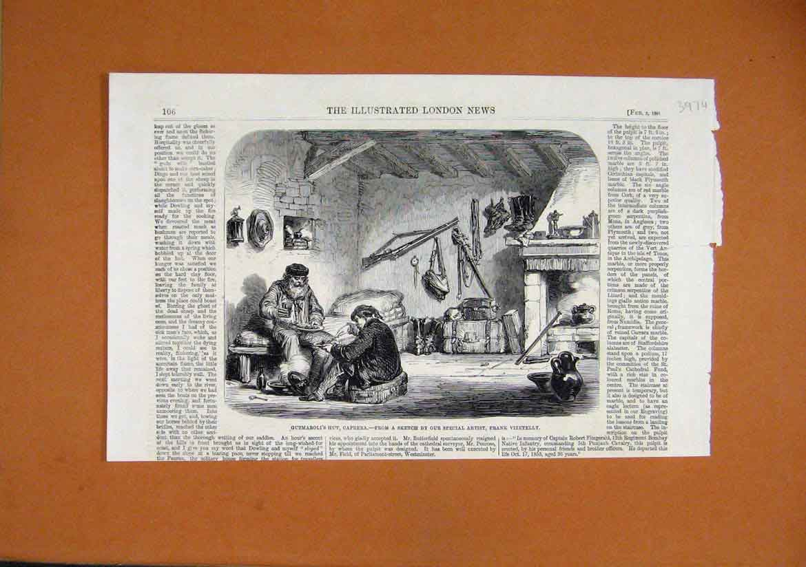 Print 1861 Guzmaroli Hut Caprera Men Dinner Firfle Cooking 97Umar1 Old Original