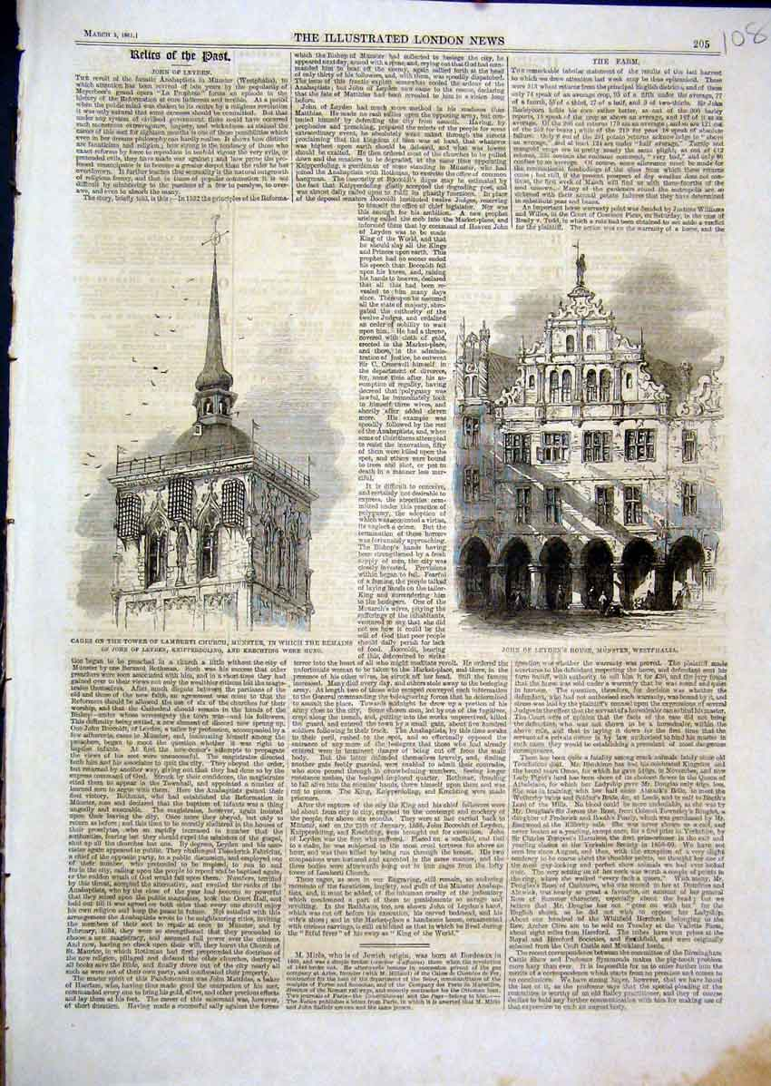 Print 1861 Cages Tower Lamberti Church John Leyden Munster 08Mar1 Old Original