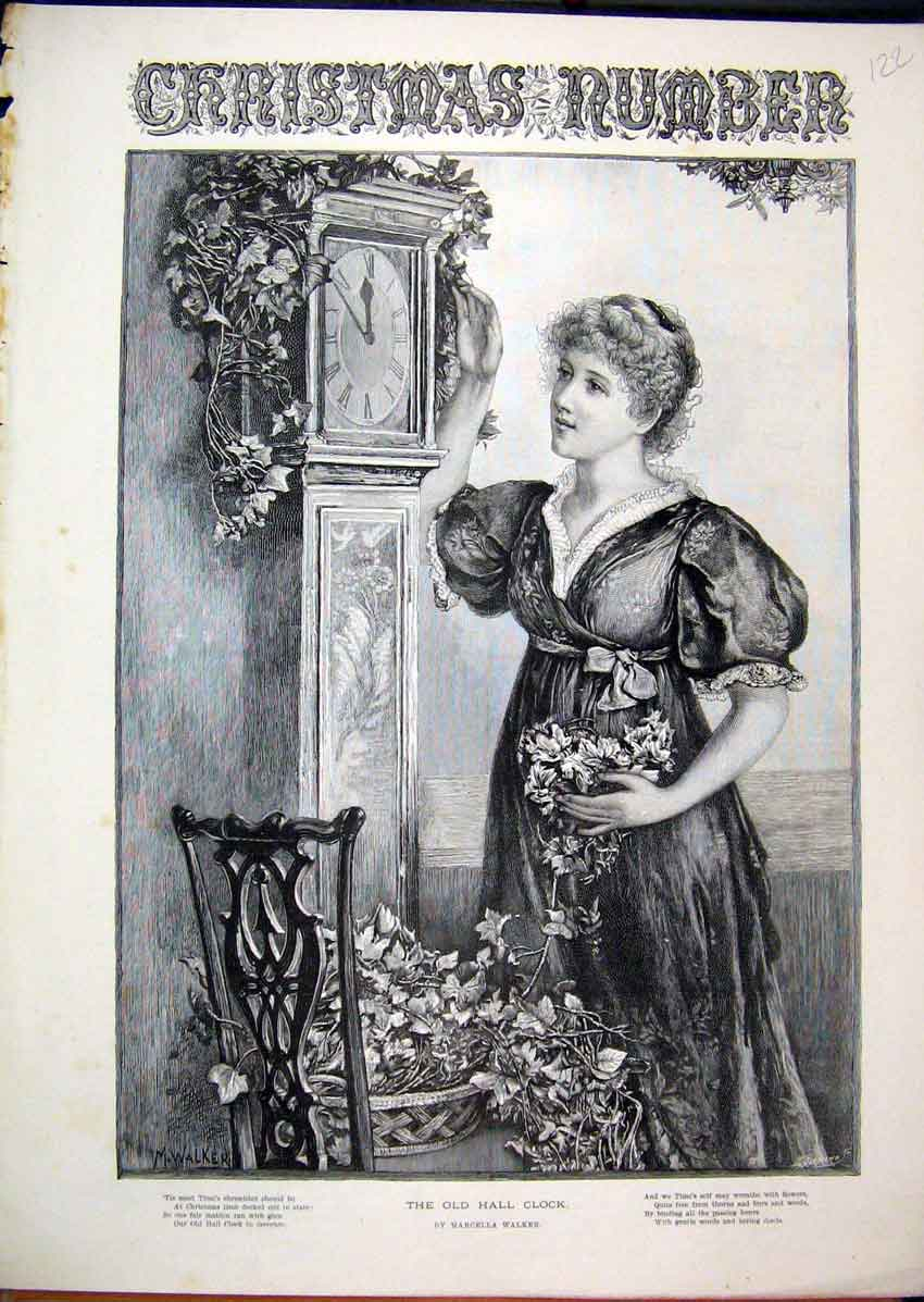 Print C1850 Christmas Scene Woman Flowers Grandfather Clock 22Mar1 Old Original