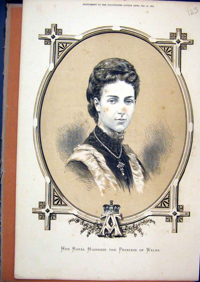 Print 1872 Speia Portrait Royal Highness Princess Wales 23Mar1 Old Original