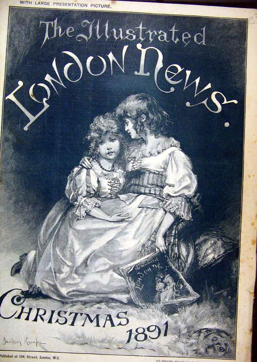 Print 1891 Christmas Young Girls Holding Book Sitting 33Mar1 Old Original
