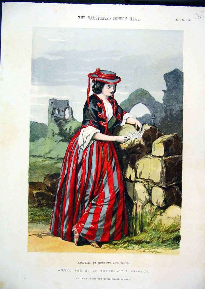 Print Colour 1856 Beautiful Woman Reading Leter Rocks 37Mar1 Old Original