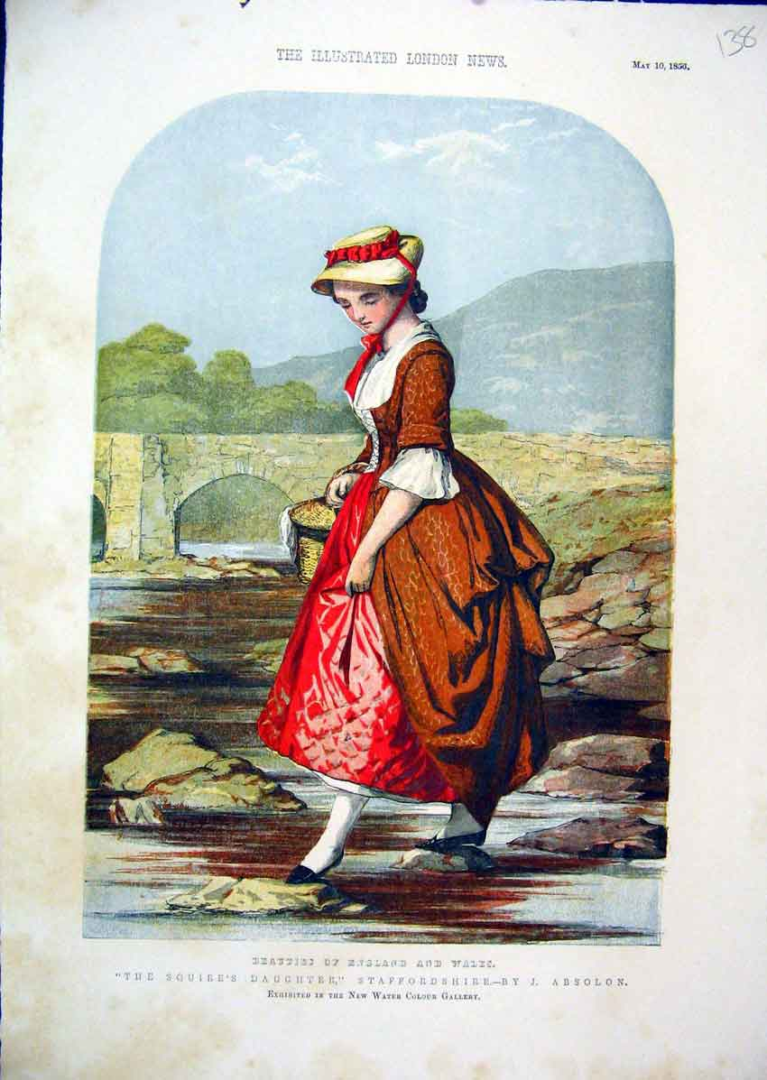 Print 1856 Colour Squires Daughter Staffordshire River 38Mar1 Old Original