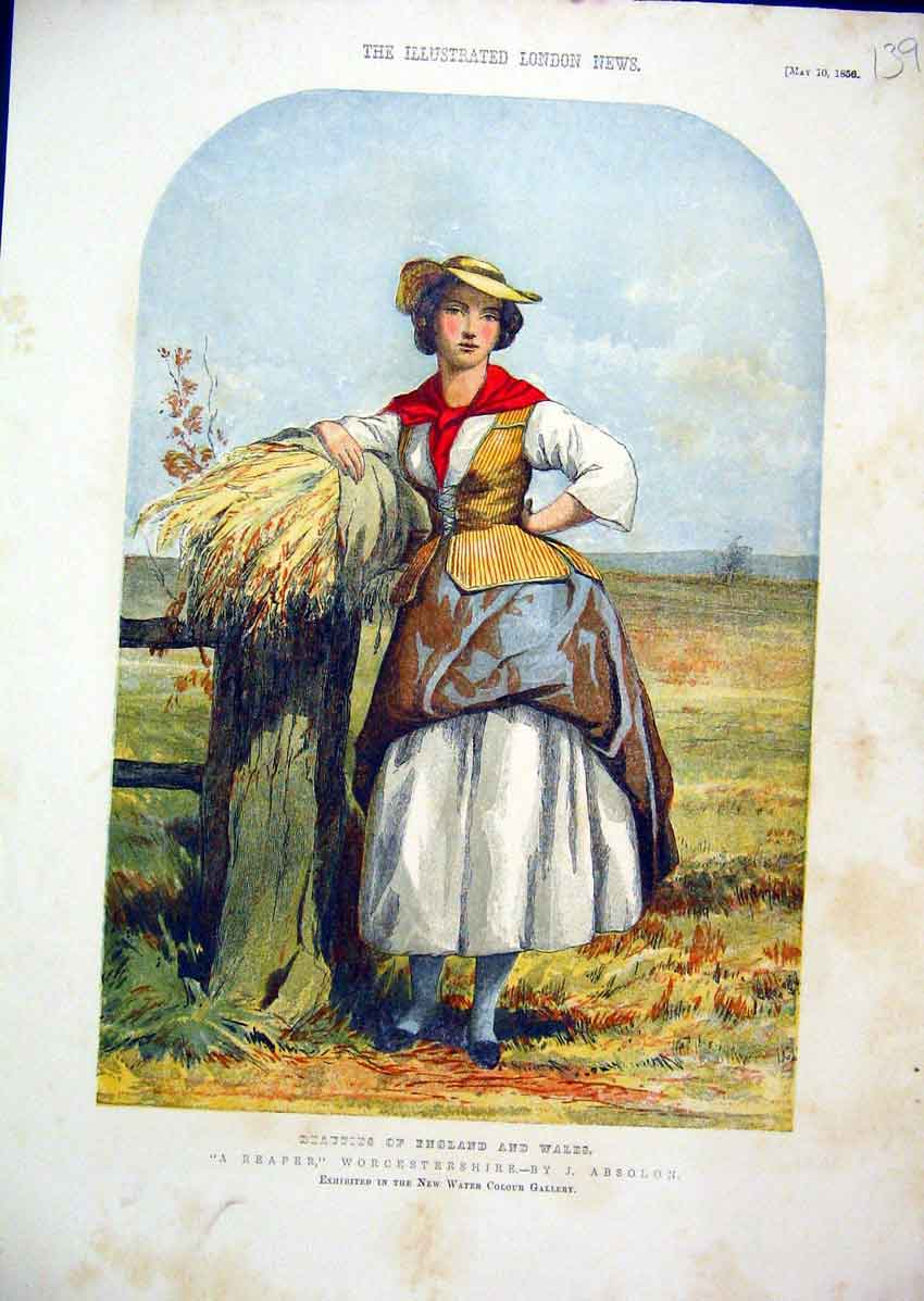 Print Colour Worcestershire 1856 Woman Harvest Field 39Mar1 Old Original