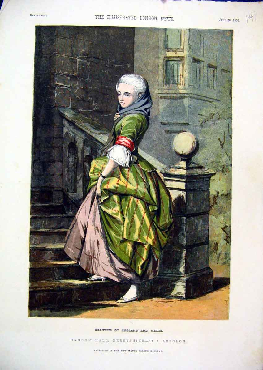Print Colour 1856 Haddon Hall Derbyshire Woman Step 41Mar1 Old Original