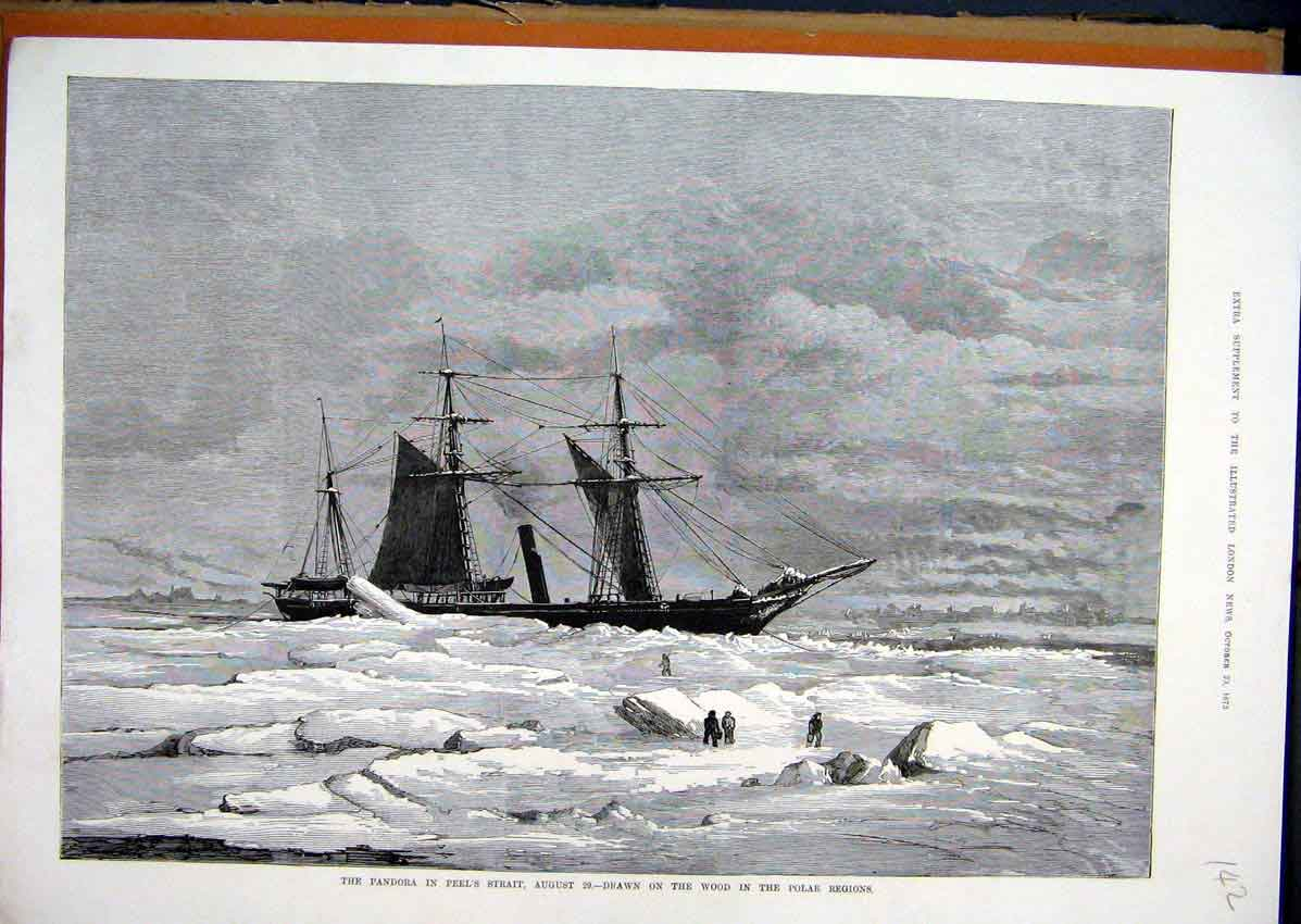 Print Pandora Peels Strait 1875 Polar Regions Snow Ice Ship 42Mar1 Old Original