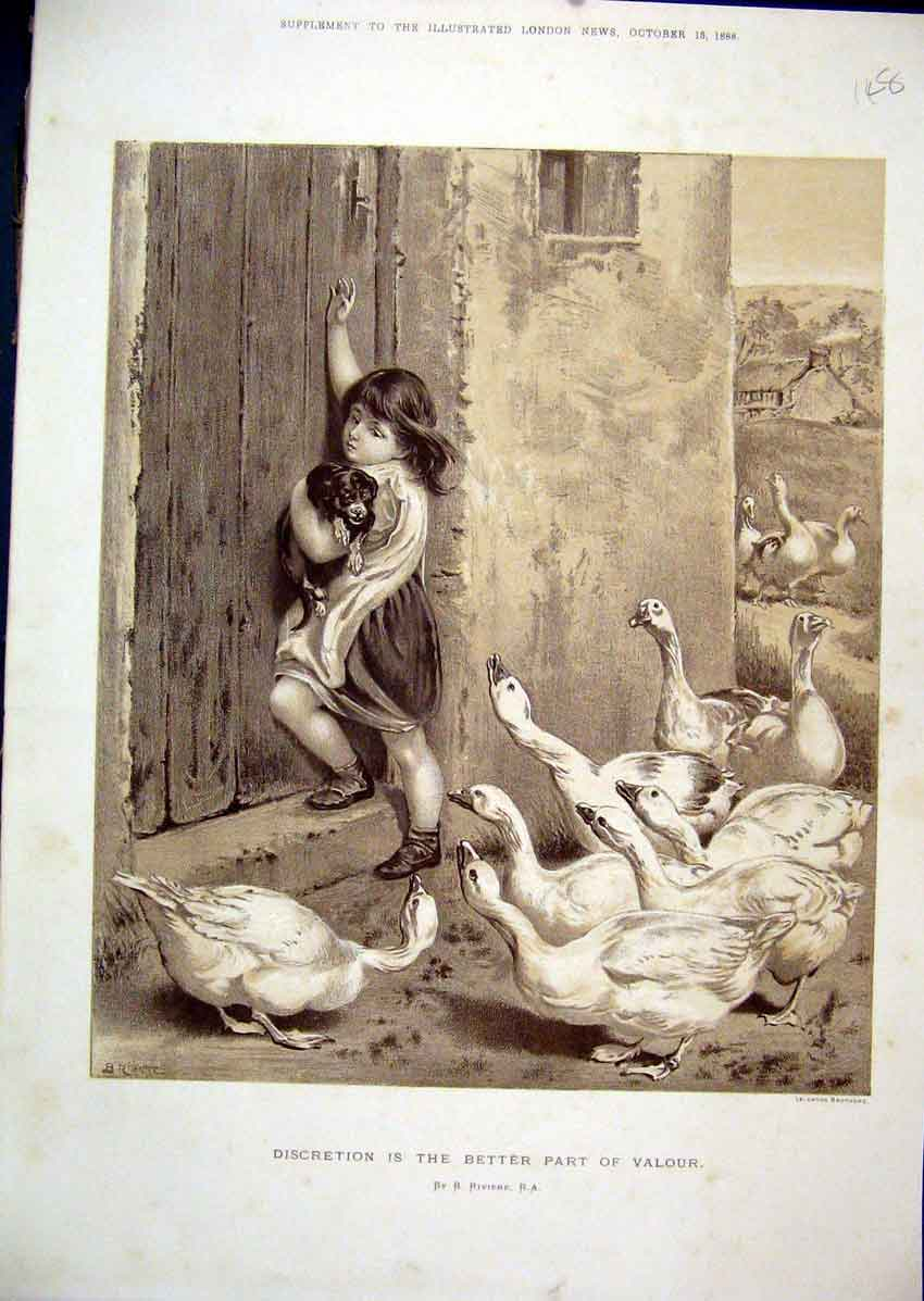 Print 1888 Sepai Little Girl Puppy Dog Geese Chasing 48Mar1 Old Original