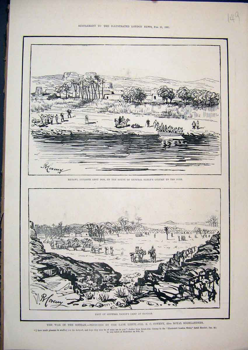 Print 1885 War Soudan Merawi General Earl Camp Handar Sketch 49Mar1 Old Original