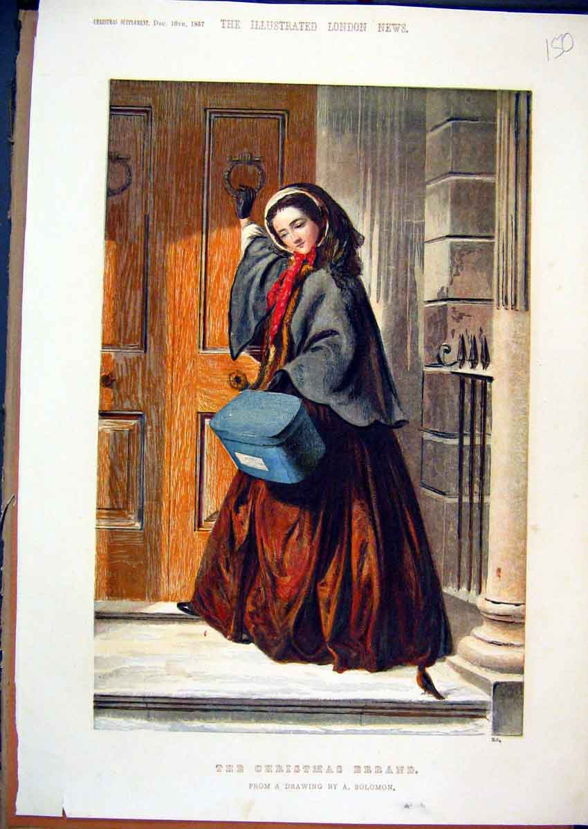 Print 1857 Colour Christmas Woman House Knocking 50Mar1 Old Original