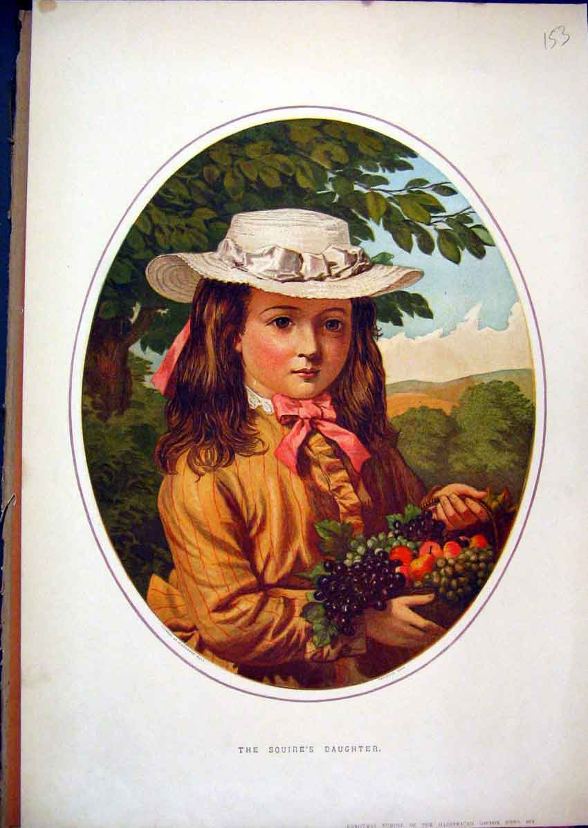 Print C1850 Young Girl Fruit Hat Squires Daughter Colour 53Mar1 Old Original