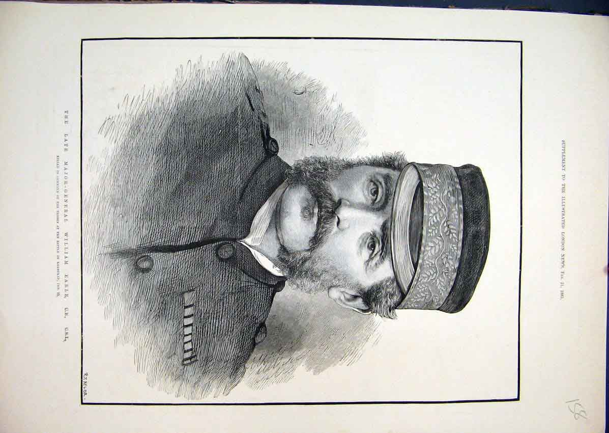 Print 1885 Major General William Earl Battle Kerbekan 58Mar1 Old Original