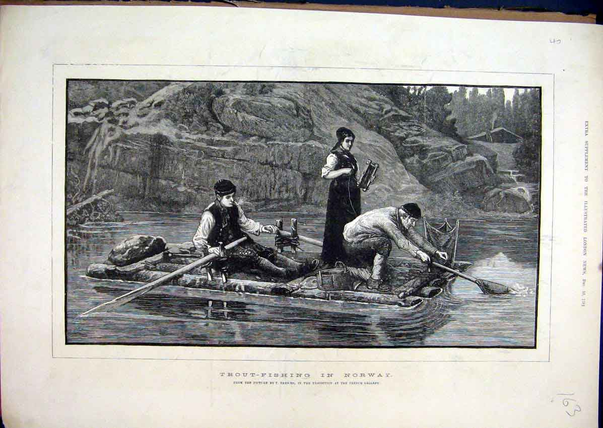 Print 1881 Trout-Fishing Norway River Boat Nets 63Mar1 Old Original