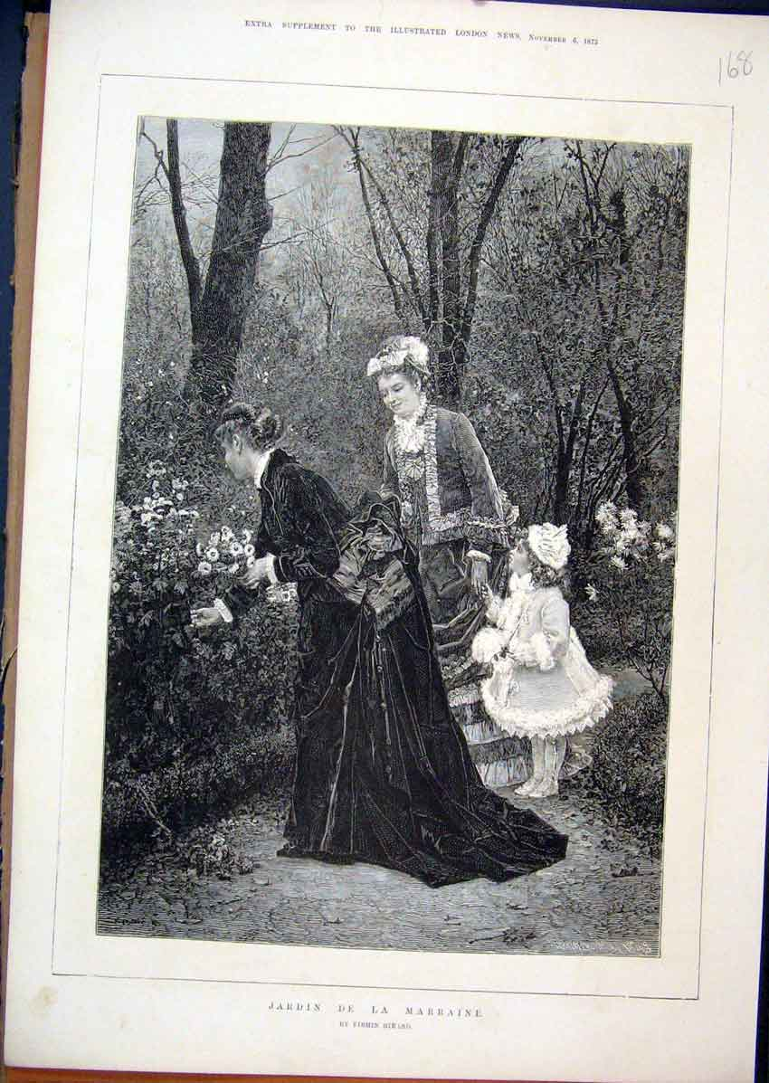 Print Woman Young Girl 1875 Picking Flowers Country Scene 68Mar1 Old Original