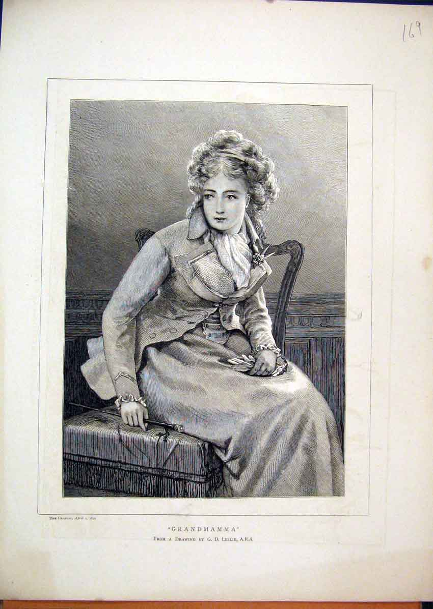 Print 1870 Portrait Beautiful Young Woman Sitting Chair 69Mar1 Old Original