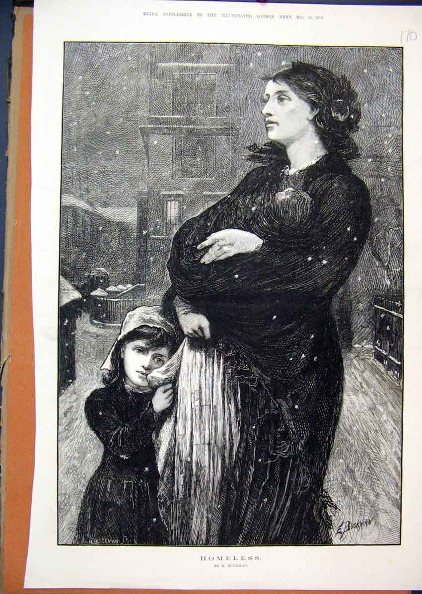 Print 1876 Woman Children Homeless Street Snowing Fine Art 70Mar1 Old Original