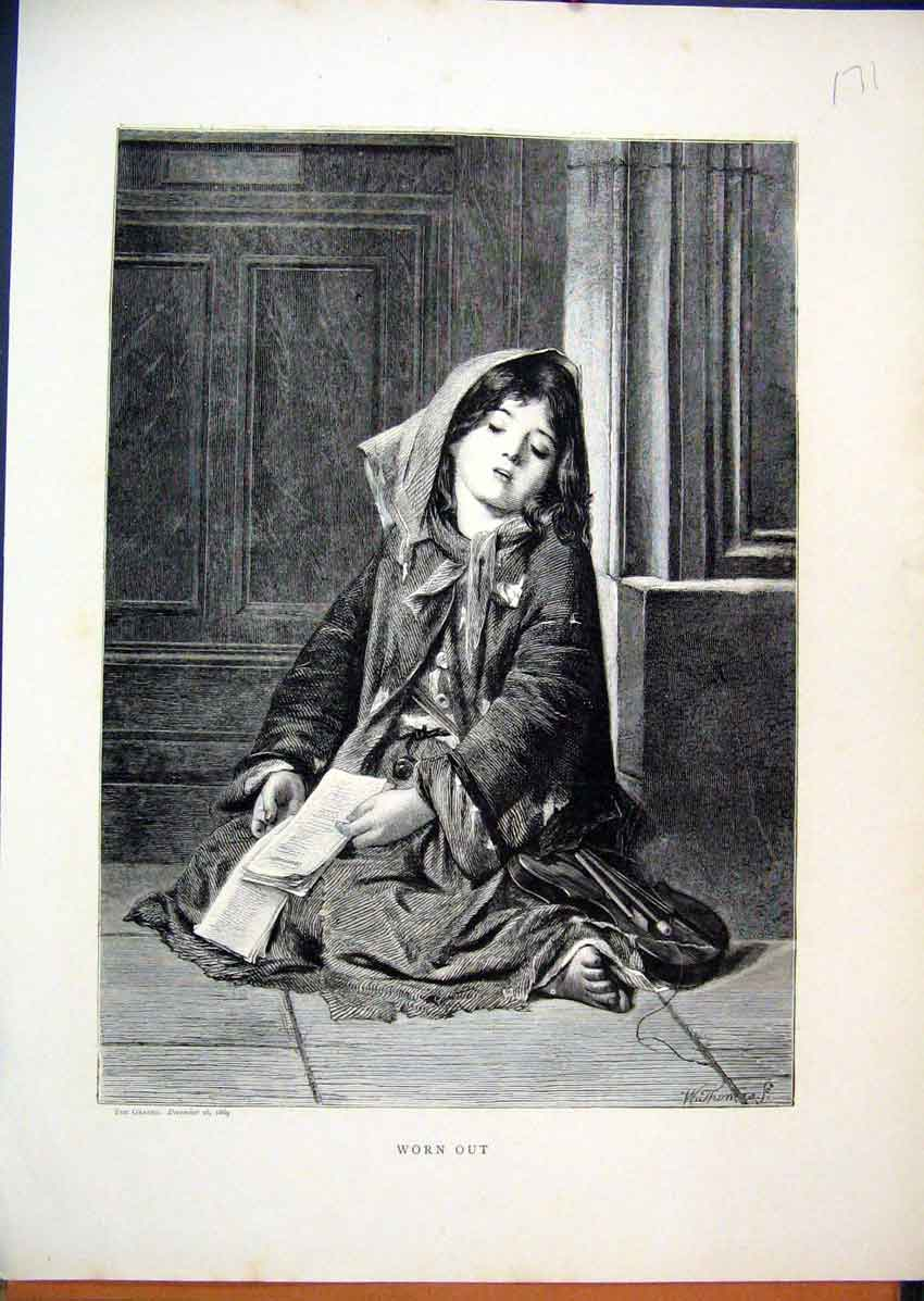 Print 1869 Young Girl Sleeping Sitting Corner 71Mar1 Old Original