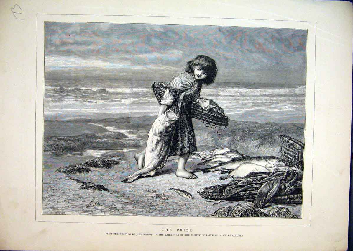 Print C1850 Young Girl Fishing Catch Drawing Water Colours 73Mar1 Old Original