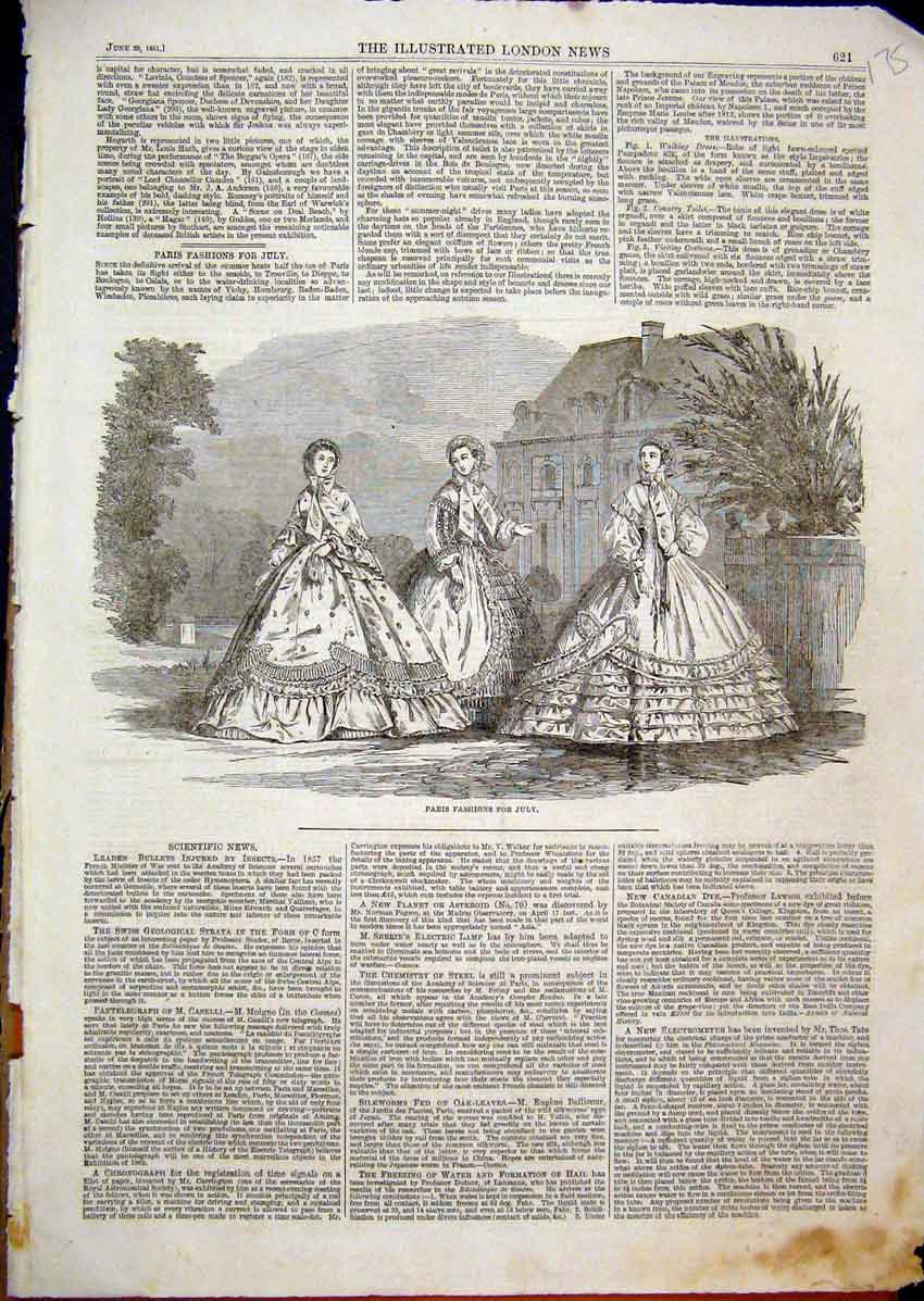 Print 1861 Paris Fashions July Women Beautiful Dresses 75Mar1 Old Original