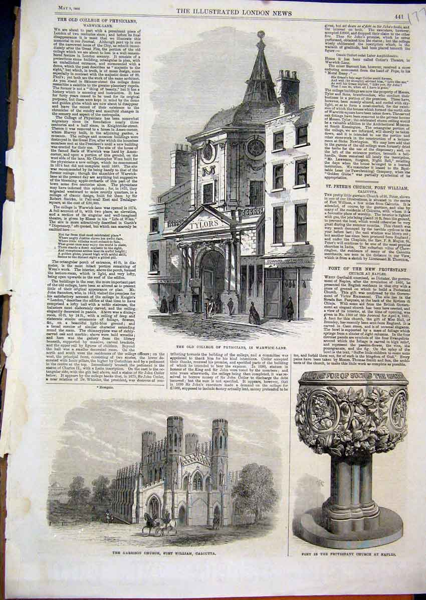Print 1866 1866 College Physician Garrison Church Font Naples 77Mar1 Old Original