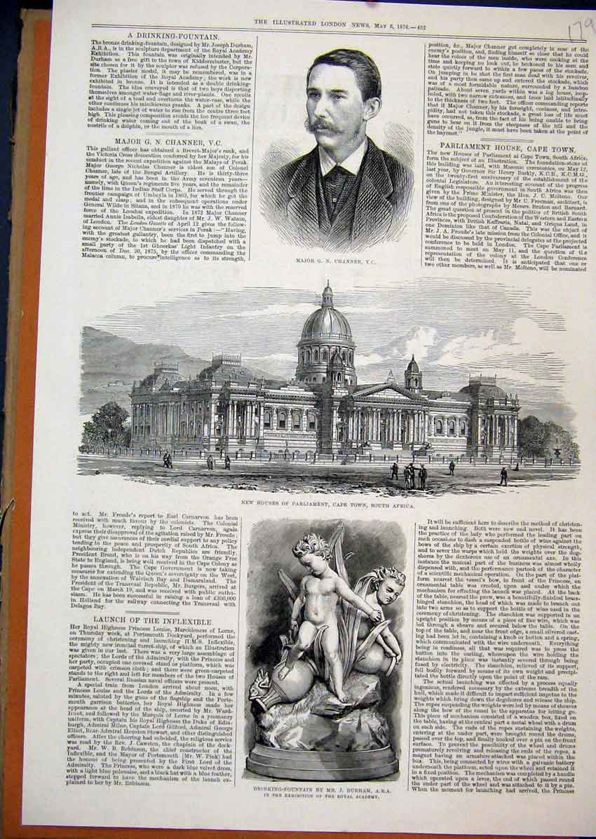 Print 1876 Major Channer Parliament Africa Drinking Fountain 79Mar1 Old Original