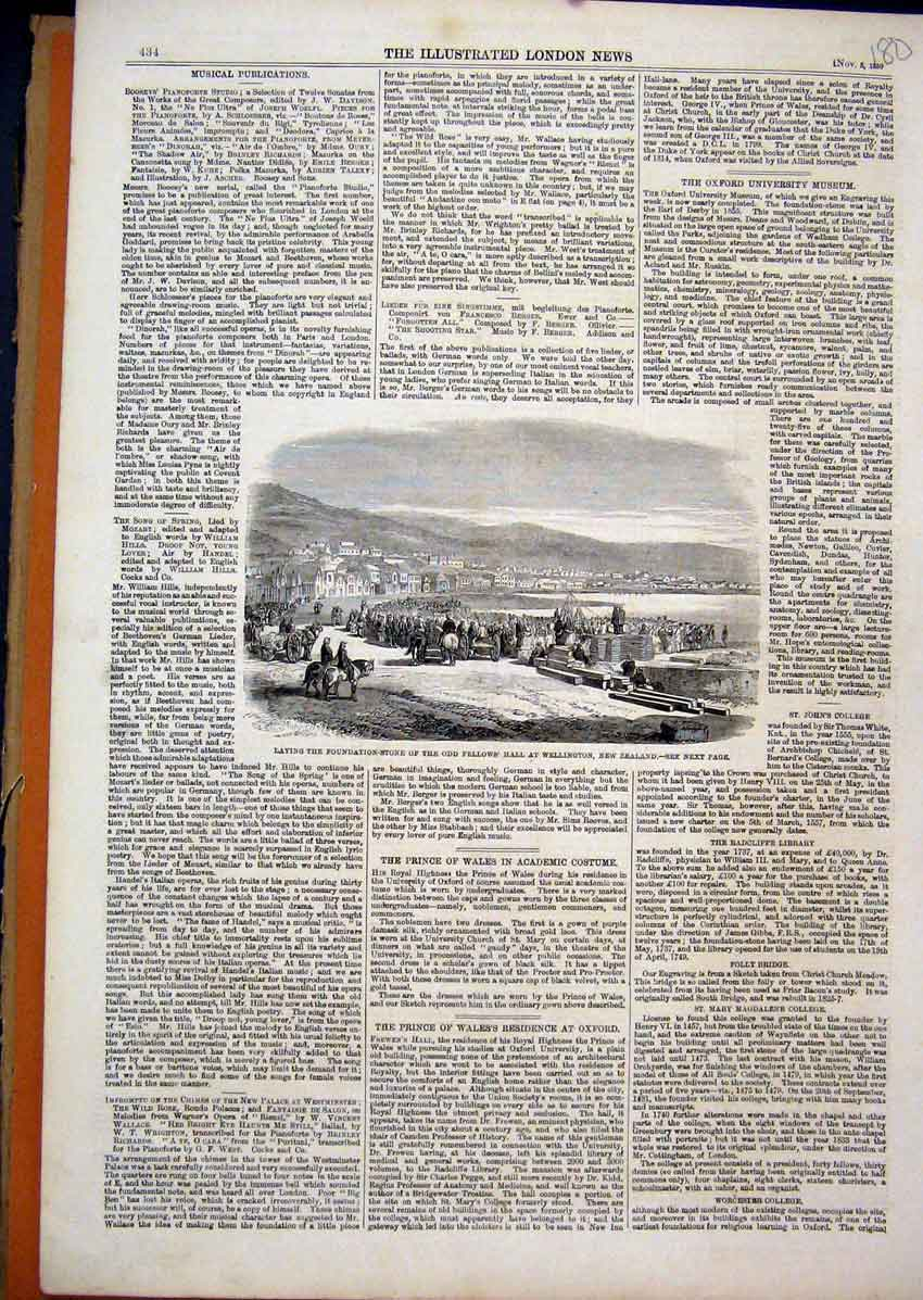 Print Foundation Stone Fellow Hall New Zealand Wellington1859 80Mar1 Old Original