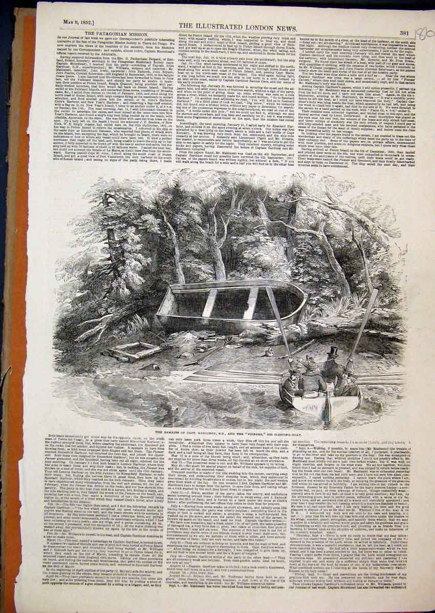 Print 1852 Remains Captain Gardiner Pioneer Sleeping Boat 86Mar1 Old Original
