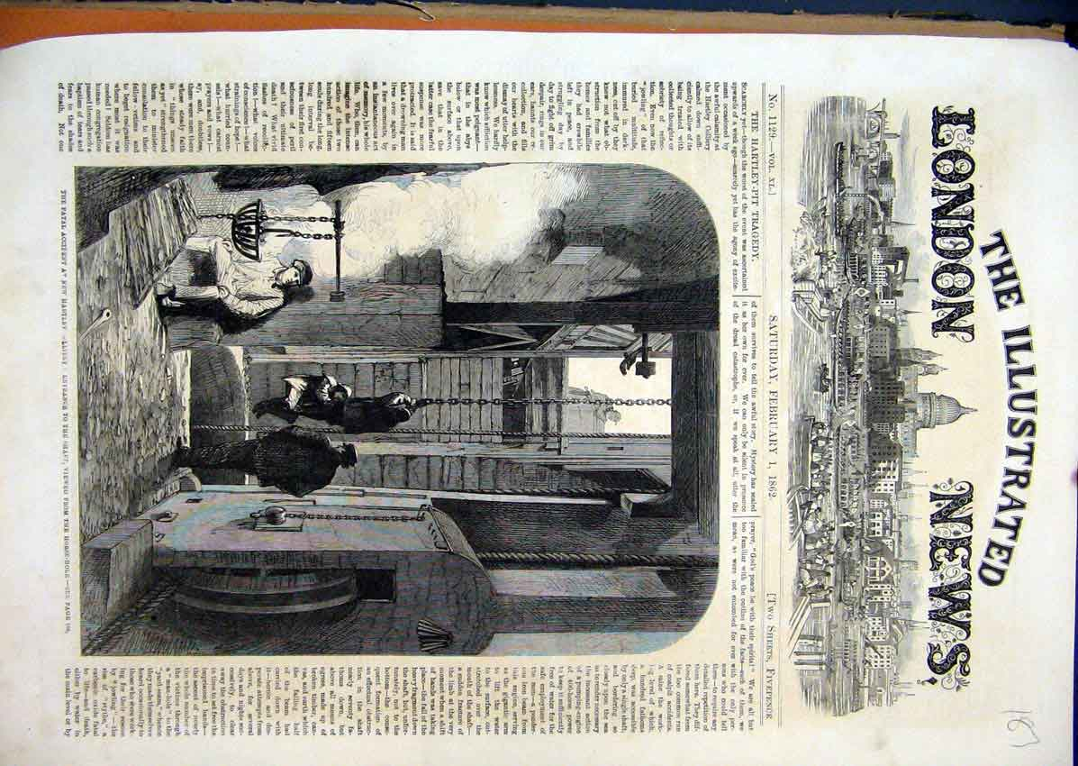 Print Fatal Accident Hartley 1862 Shaft Viewed Horse-Hole 87Mar1 Old Original