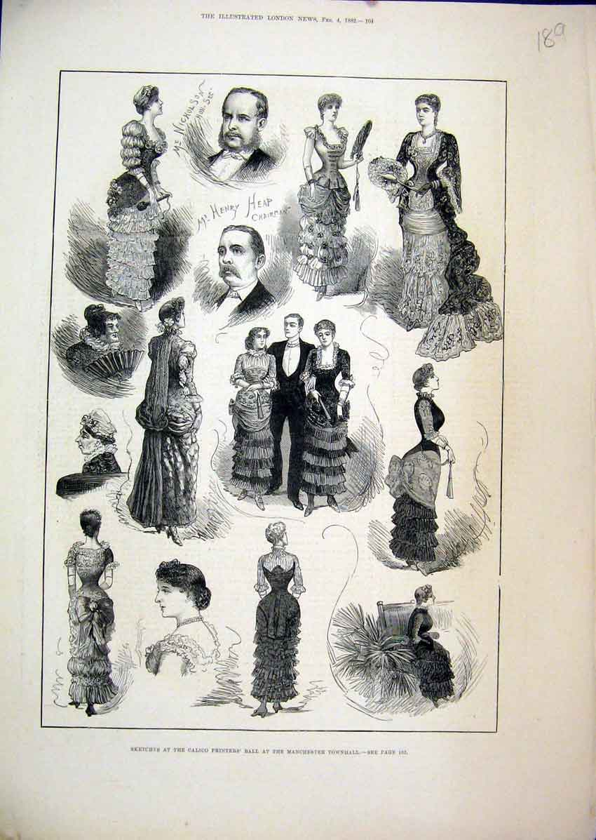 Print 1882 Sketches Calico Ers Ball Machester Townhall 89Mar1 Old Original