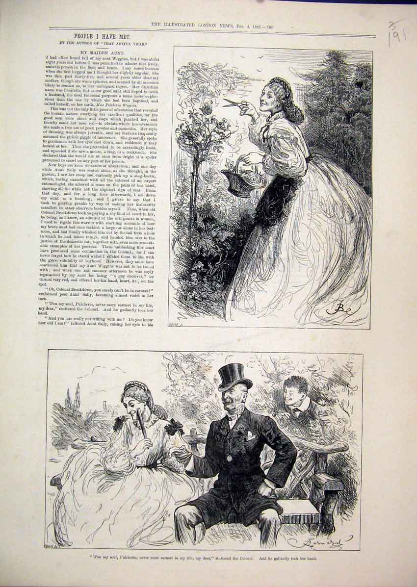 Print Pulcheria Colonel 1882 Sitting Bench Garden Romance 91Mar1 Old Original