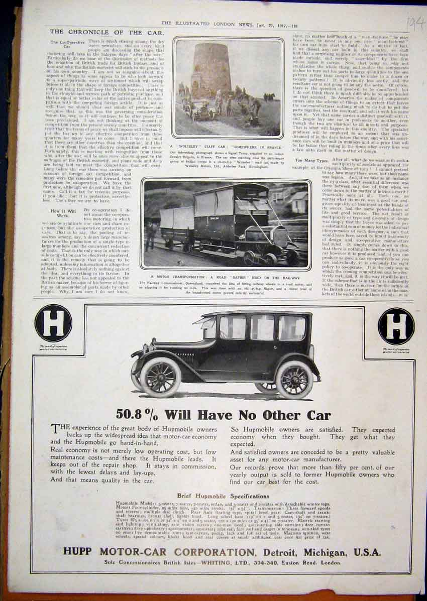 Print 1917 Advert Hupp Motor Car Detroit Michigan Wolseley 94Mar1 Old Original