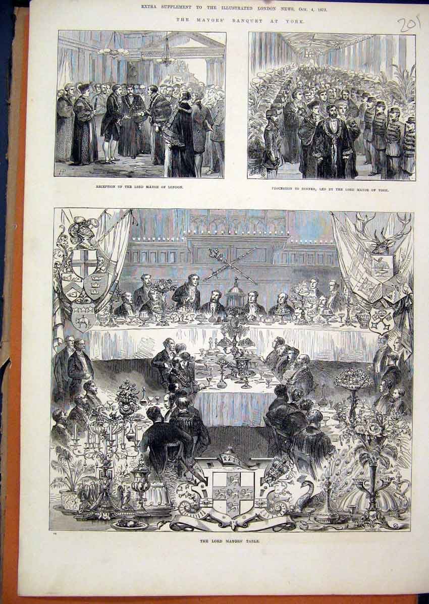 Print 1873 Mayors Banquet York Table Procession Dinner 01Mar1 Old Original