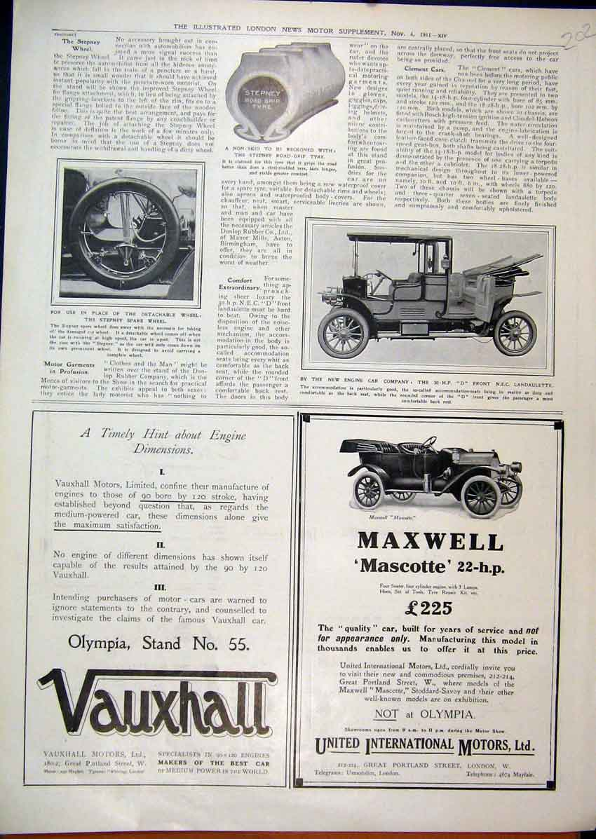 Print 1911 Advert Maxwell Mascotte Motor Car Vauxhall Wheel 02Mar1 Old Original