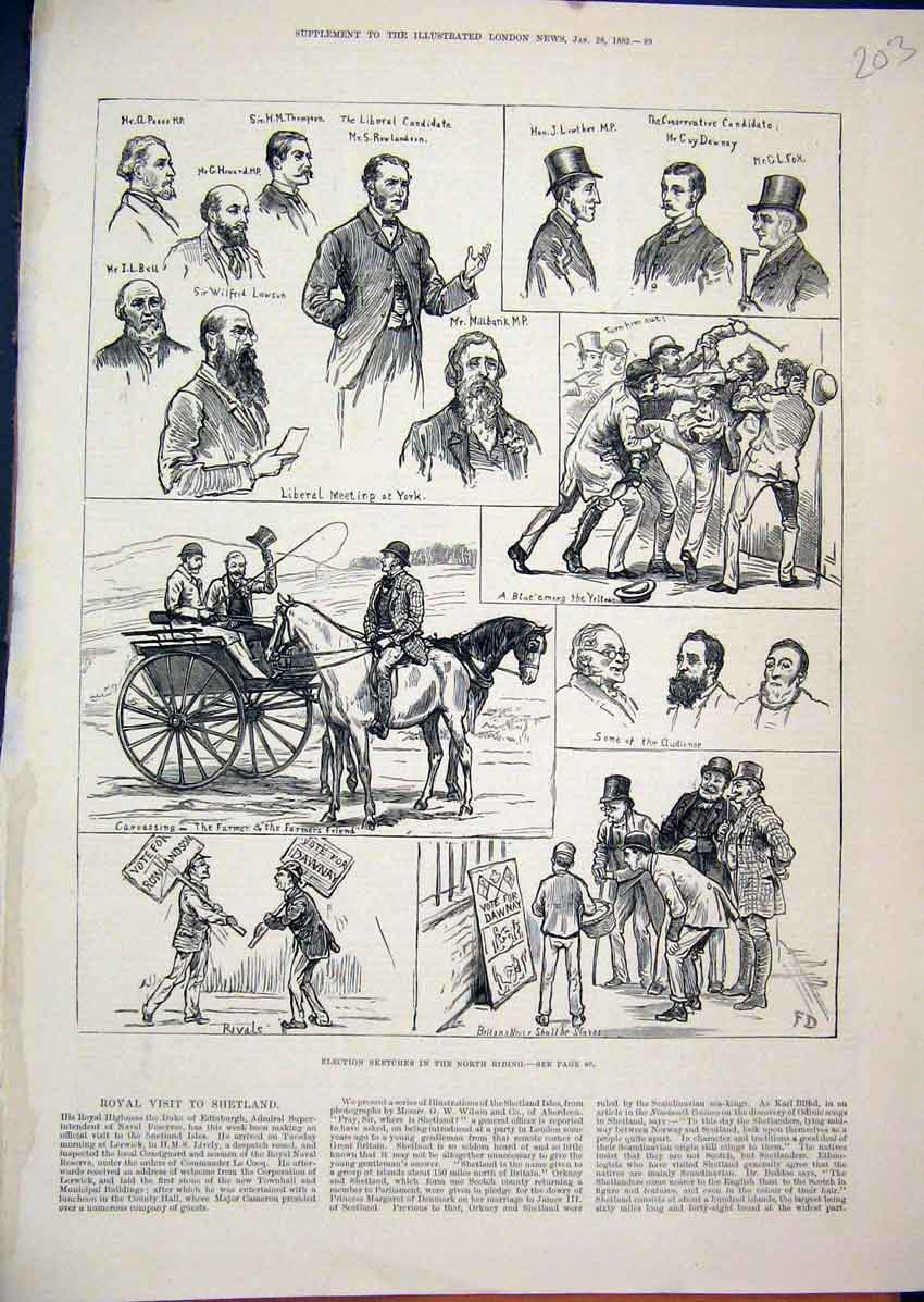 Print 1882 Election Sketches North Riding Canvassing Liberal 03Mar1 Old Original