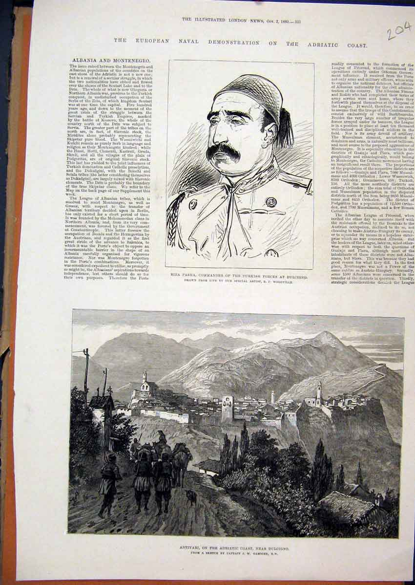 Print 1880 Antivari Adriatic Coast Dulcigno Riza Pasha Turkey 04Mar1 Old Original