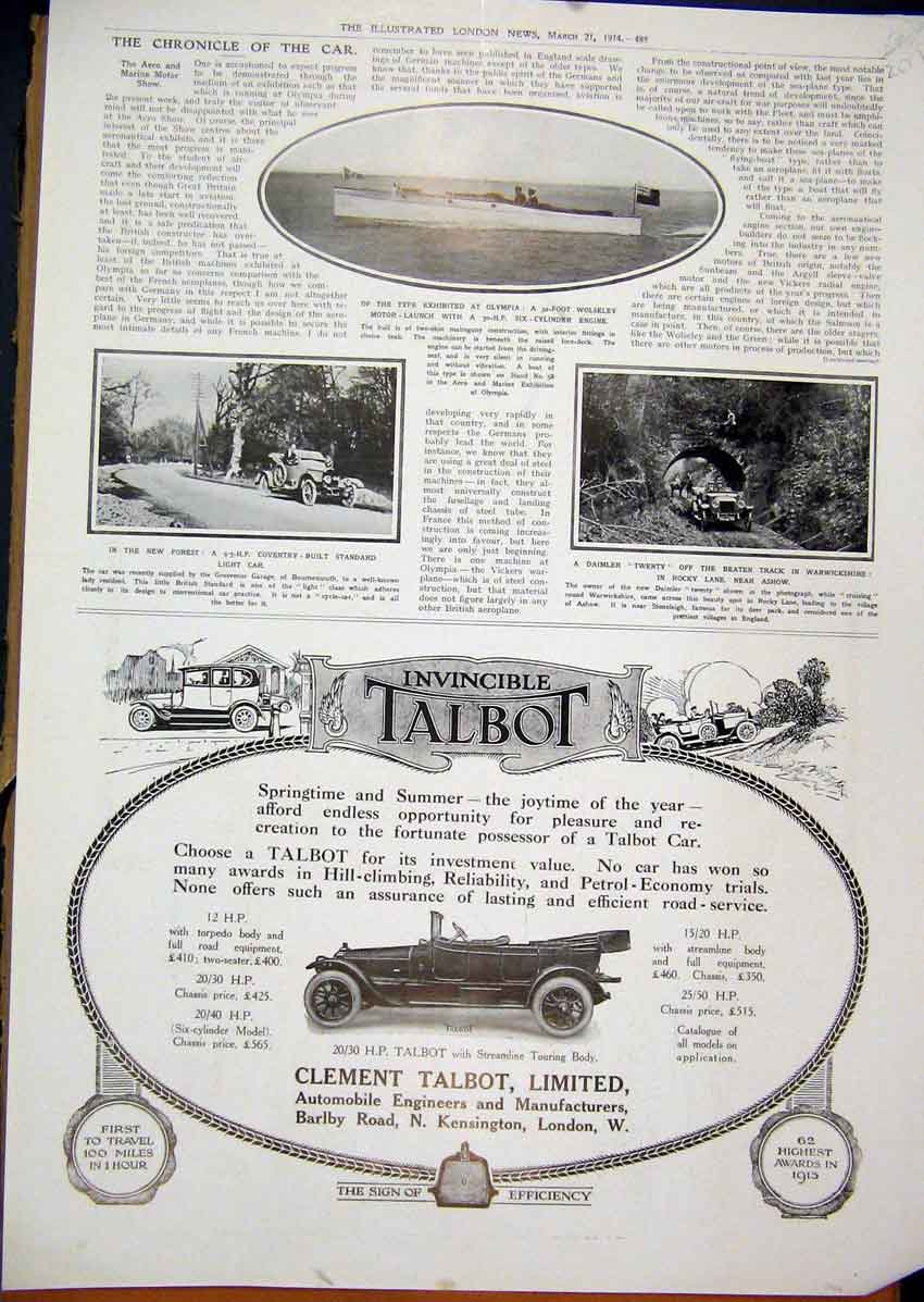 Print 1914 Advert Talbot Motor Car Wolseley Daimler Forest 07Mar1 Old Original