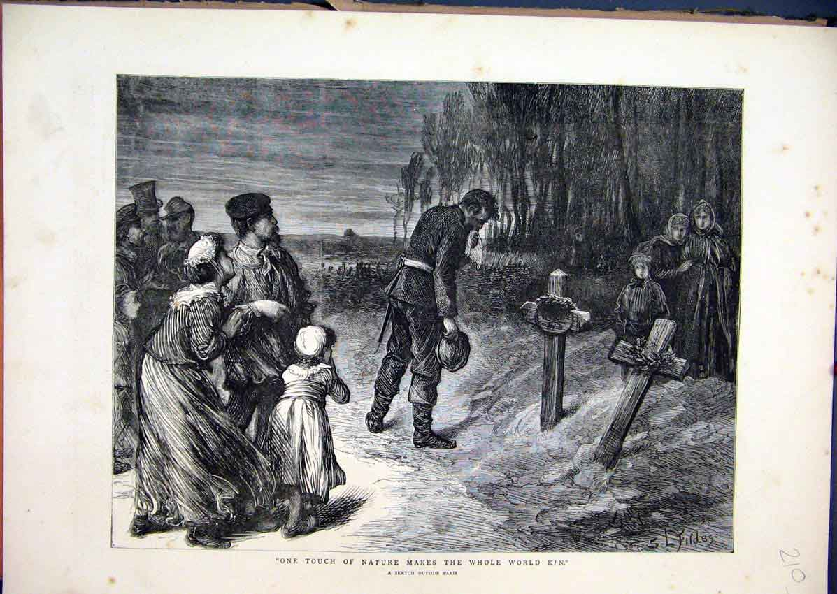 Print 1871 Sketch Paris Families Grave Trees Country Scene 10Mar1 Old Original