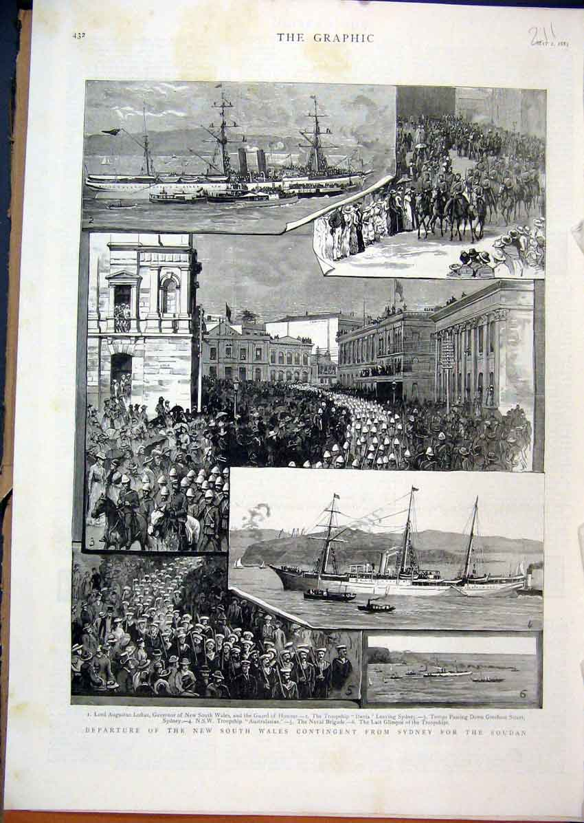 Print 1885 Lord Augustus Loftus Troopship Iberia Naval Guard 11Mar1 Old Original
