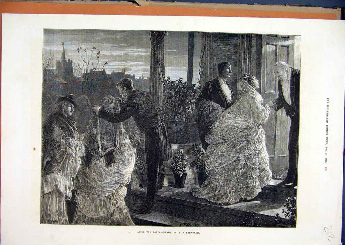 Print 1873 Home Party Romance Goodnight Woman Men 12Mar1 Old Original