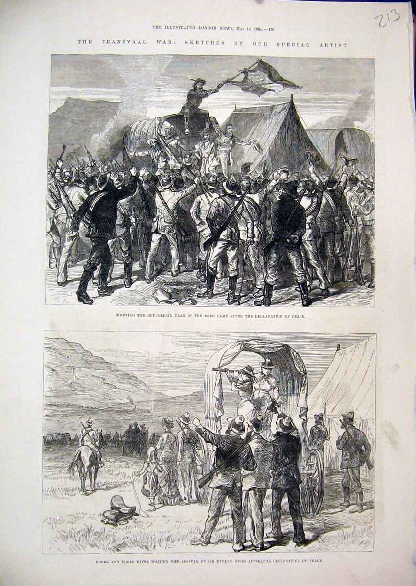 Print 1881 Transvaal War Boers Camp Evelyn Wood Celebrate 13Mar1 Old Original