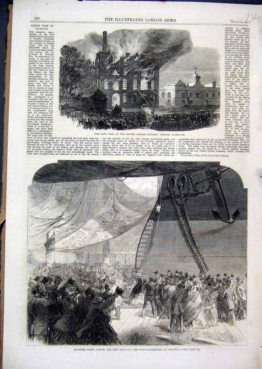 Print 1866 Fire Candle Factory Plymouth Countess Percy Ship 14Mar1 Old Original