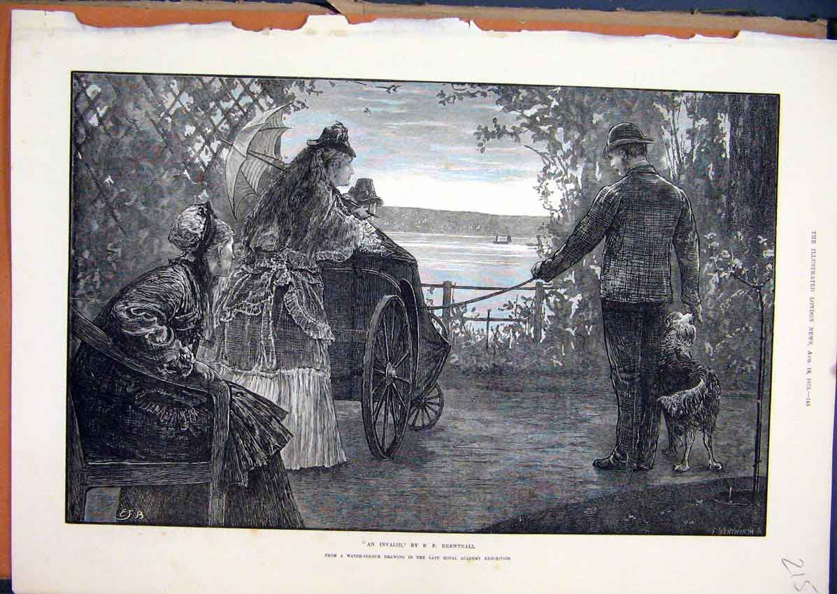 Print Invalid Wheelchair Walk Riverside Woman Parasol 1873 15Mar1 Old Original