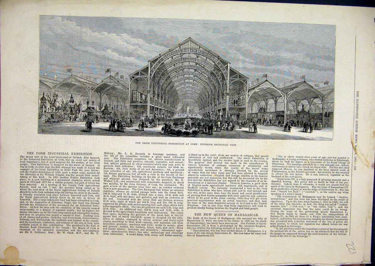 Print Irish Industrial Exhibition Cork 1883 Interior View 21Mar1 Old Original
