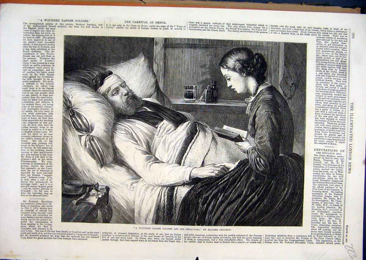 Print Wounded Danish Soldier Betrothed Reading Bed 1870 23Mar1 Old Original